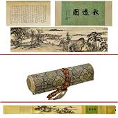 CHINESE SCHOOL  LANDSCAPE PAINTING LONG SCROLL