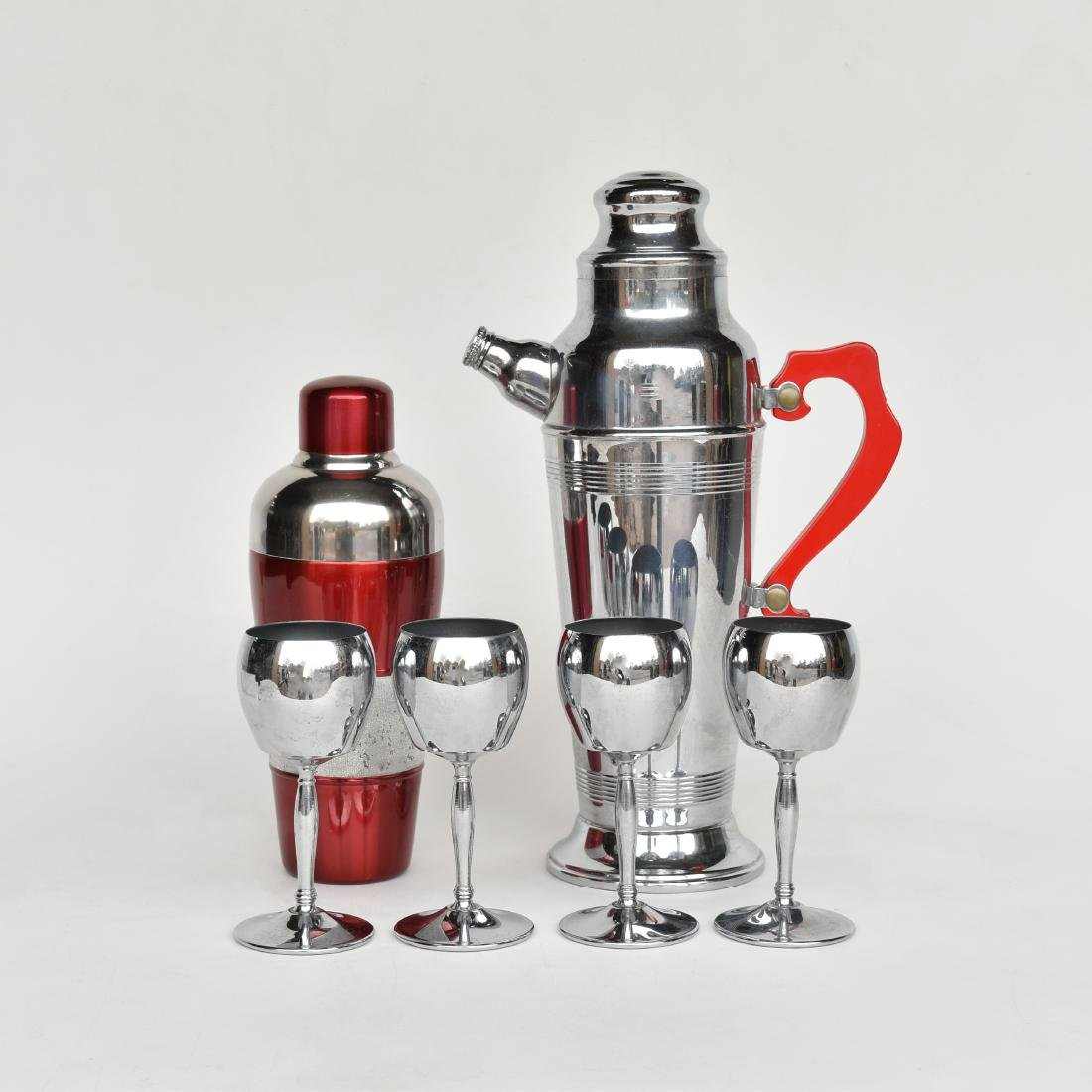 CHROME & RED LUCITE COCKTAIL SHAKER SETS