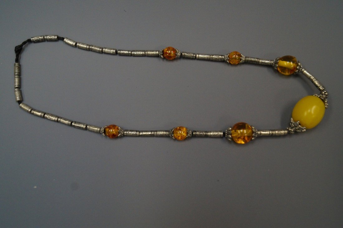 Tibetan silver and amber necklace