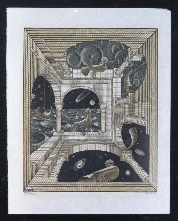 "222:   ESCHER,    M.C.    Title: ""Other World""    woodc"