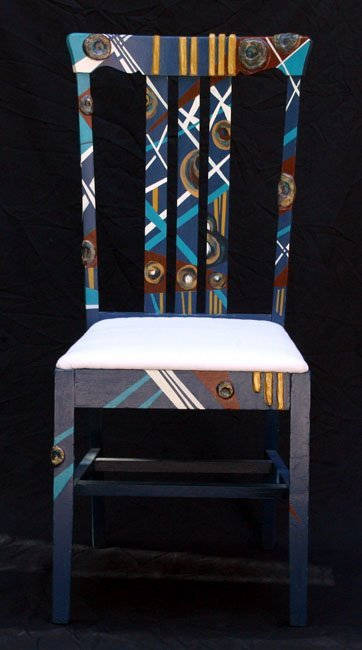 303:   DECORATED CHAIR      wood, paint, dimensional me