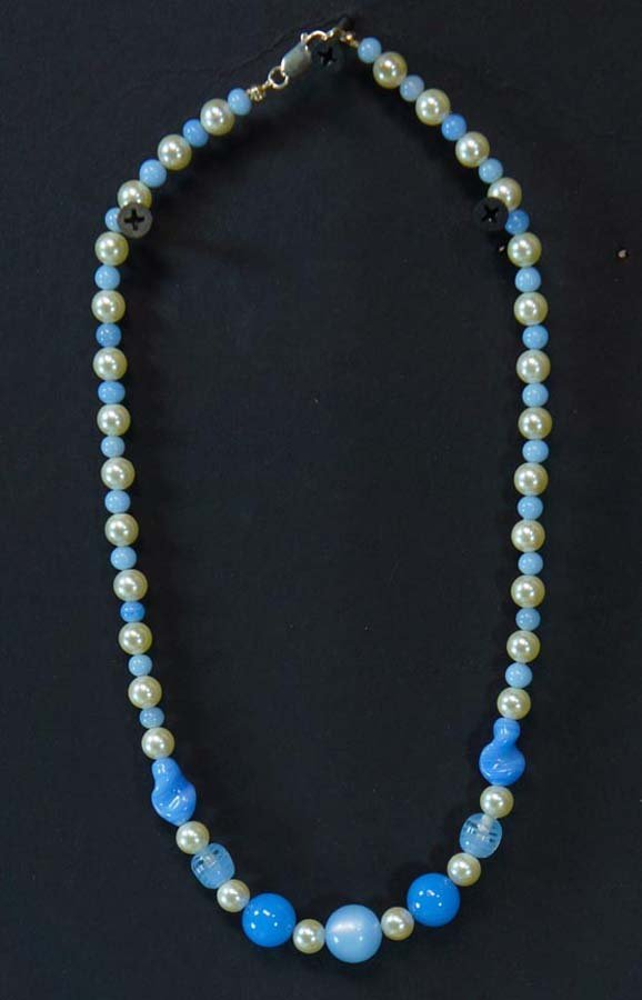 102:  FAUX PERLS WITH BLUE GLASS BEADS,   ,