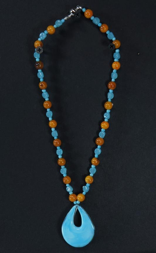 105:  BLUE AND AMBER COLORED BEADS WITH GLASS DROP,   ,