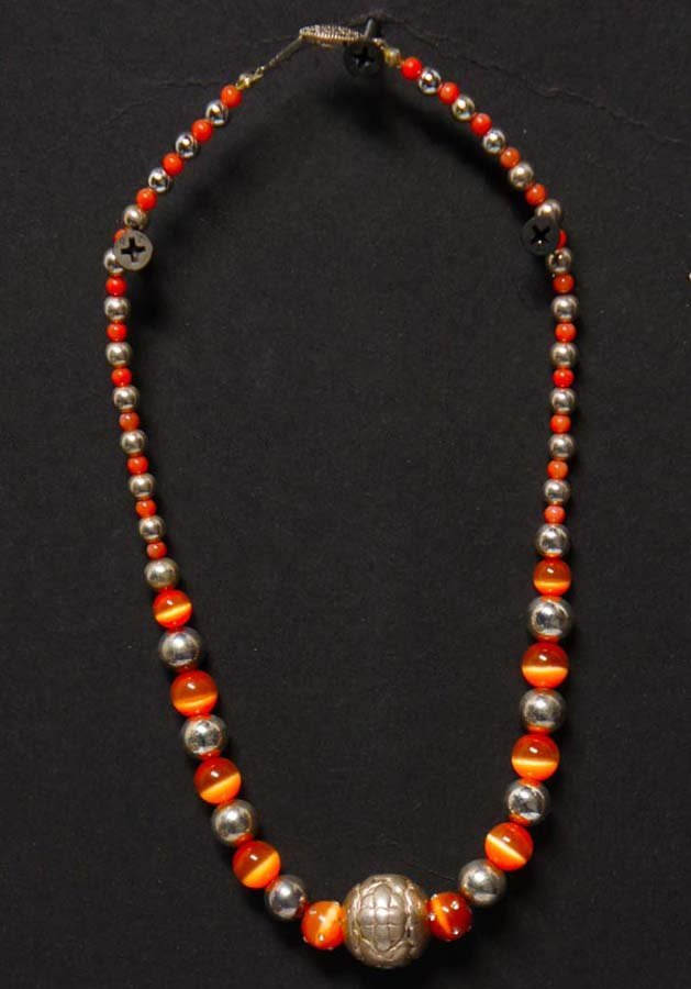 110:  ORANGE CATS EYE CORRAL AND SILVER BEADS,   ,