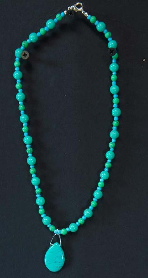 246:  Semi-Precious Turquoise Beads with Turquoise Drop
