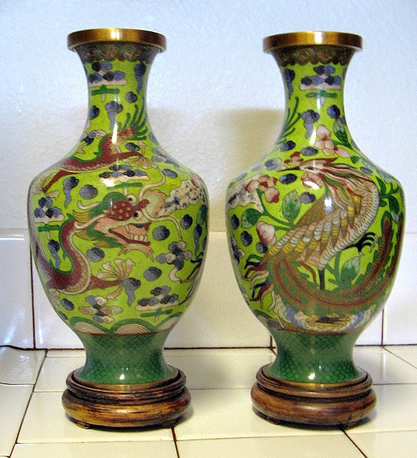 114:  CHINESE CLOISONNE VASES,  A PAIR,   ,