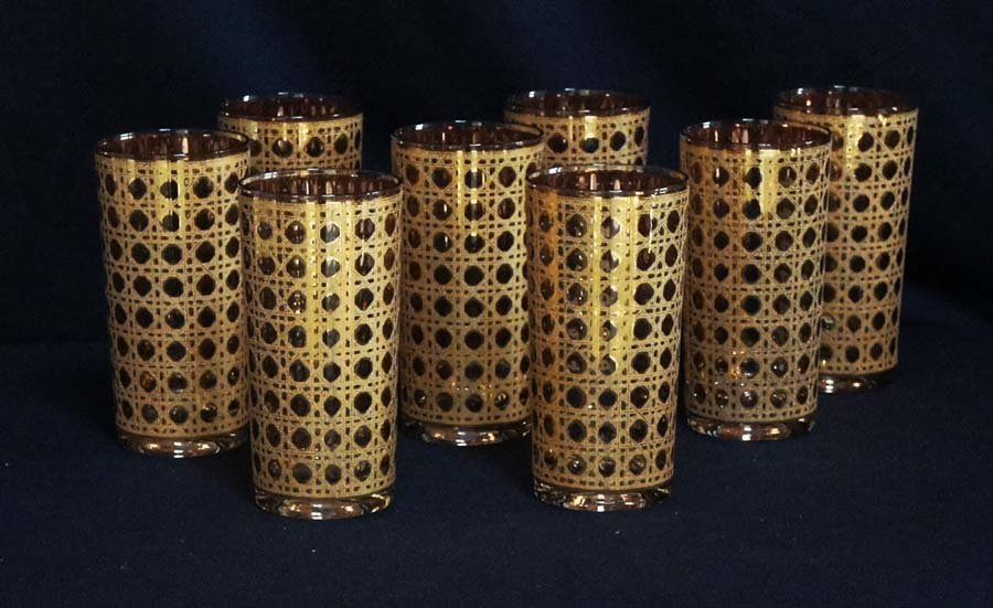 116:  GOLD STYLE DRINKING GLASSES,  ,