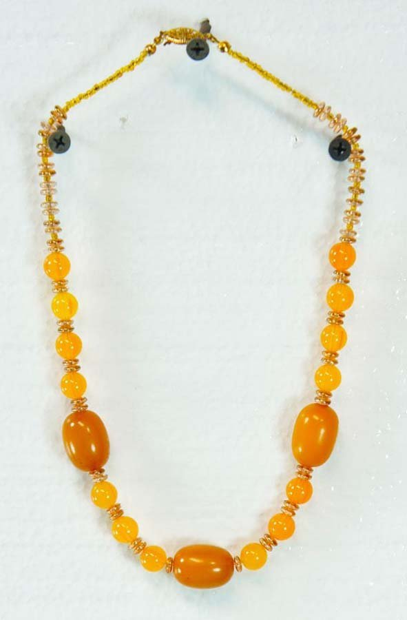 121:  AMBER BEADS,  LARGE AND SMALLER,   WITH GLASS ACC
