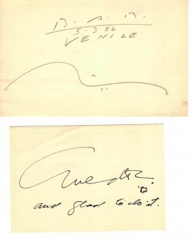 A COLLECTION OF ARTIST SIGNED INDEX CARDS (67),   ,