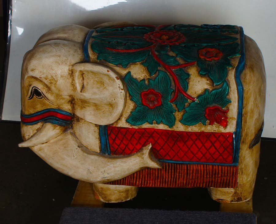 ASIAN CARVED WOODEN ELEPHANT,   ,