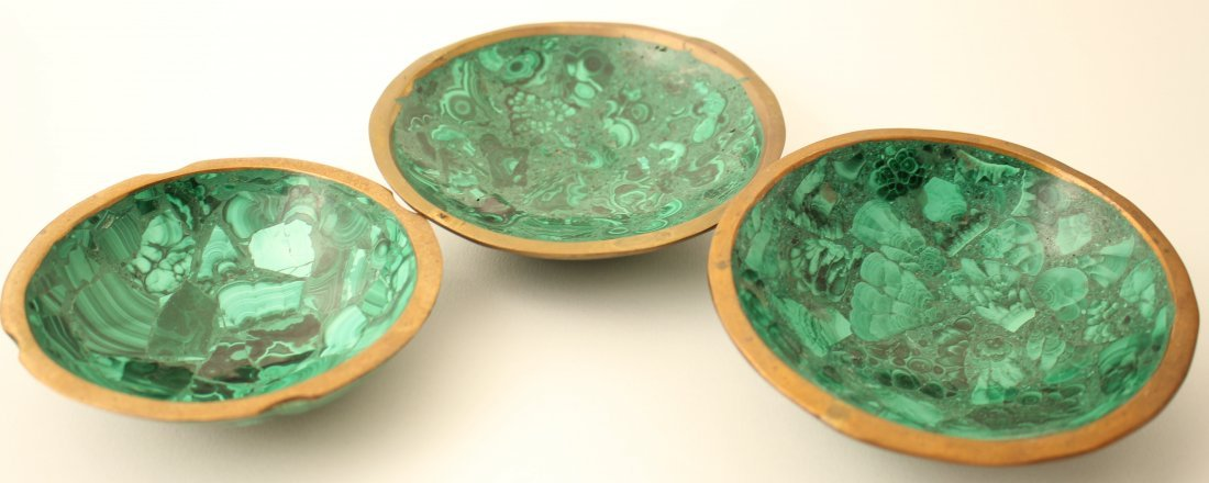 Handcrafted African malachite bowls and ashtray