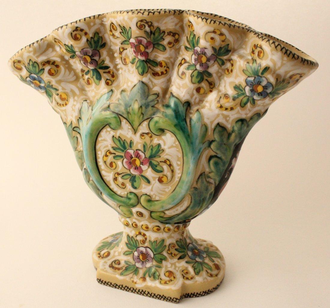 Italian Molaroni Pesaro majolica floral fan vase