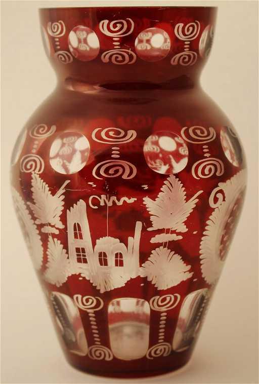 Czech Bohemian Egermann Crystal Glass Ruby Red Vase