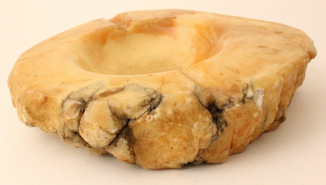 Italian alabaster hand carved ashtray, 1960s - 2