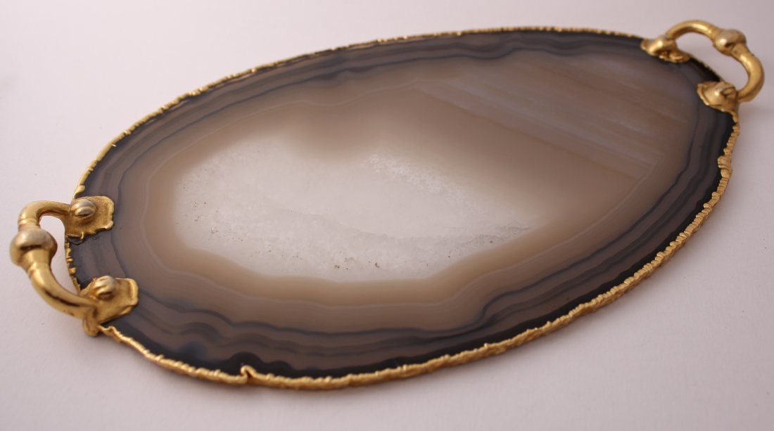 Spanish black agate coffee tray with 24 ct gilded edge