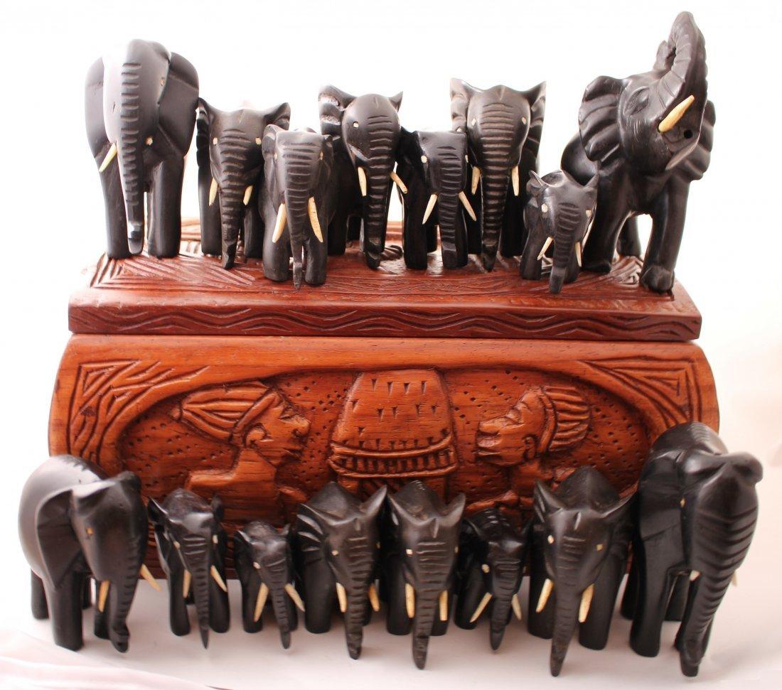 African ebony and ivory elephants in a sandalwood box