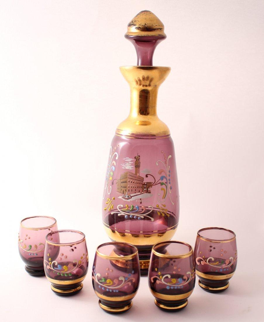 Florentine gilded pink glass decanter set