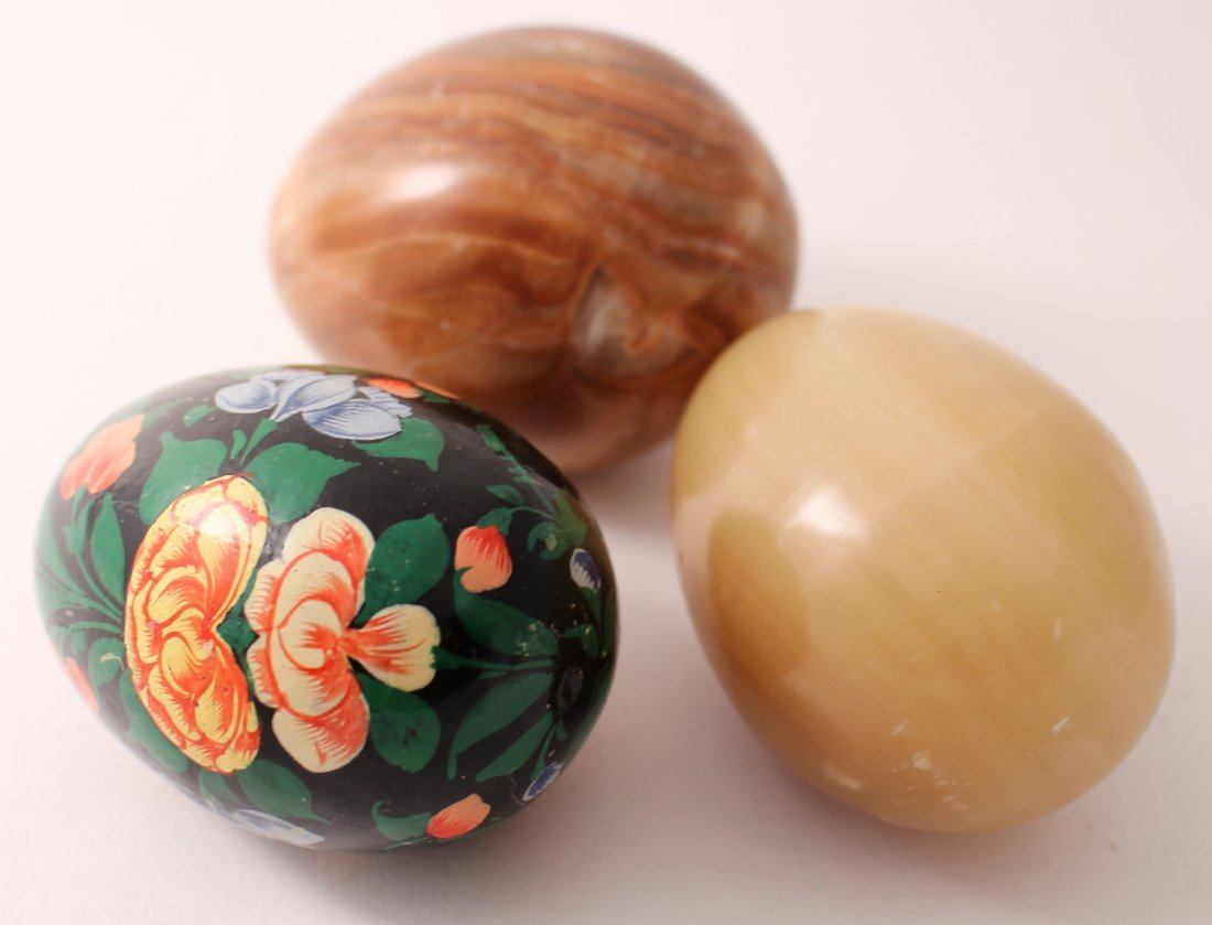 Onyx, agate and painted wood Easter eggs