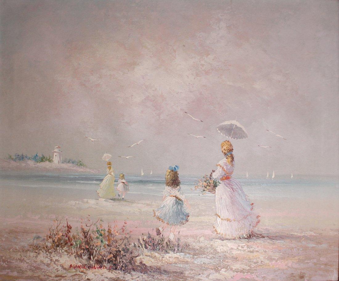"""Marie CHARLOT, """"Beach scene"""", 1960s-70s"""
