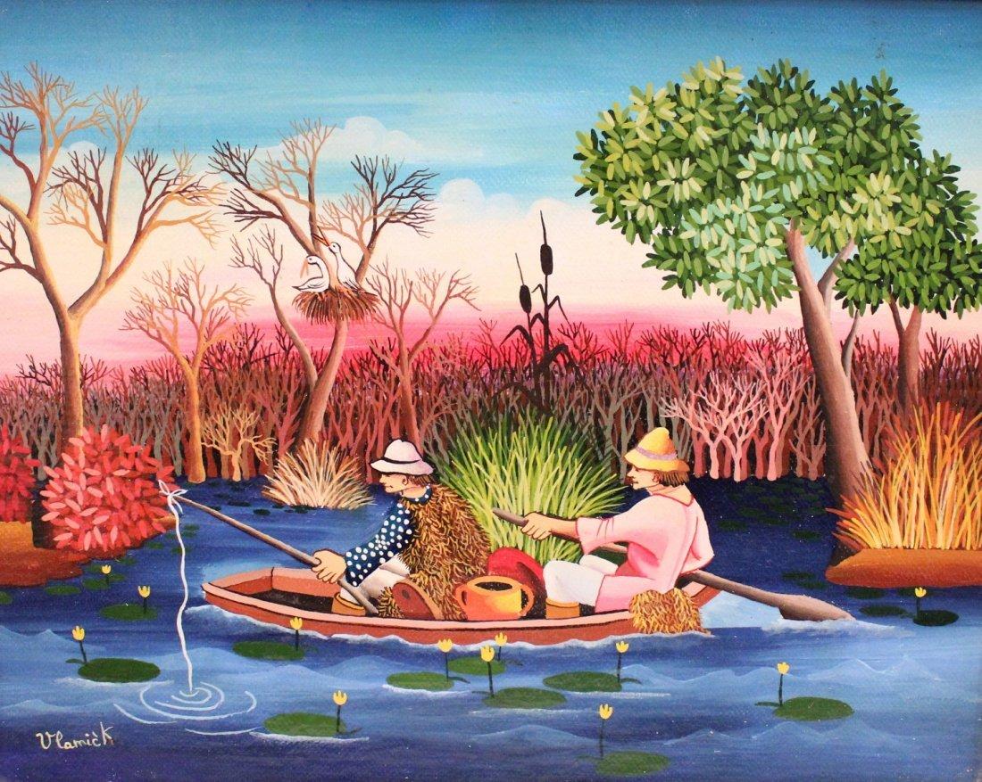 "VLAMICK, ""Fishermen"", oil on canvas"
