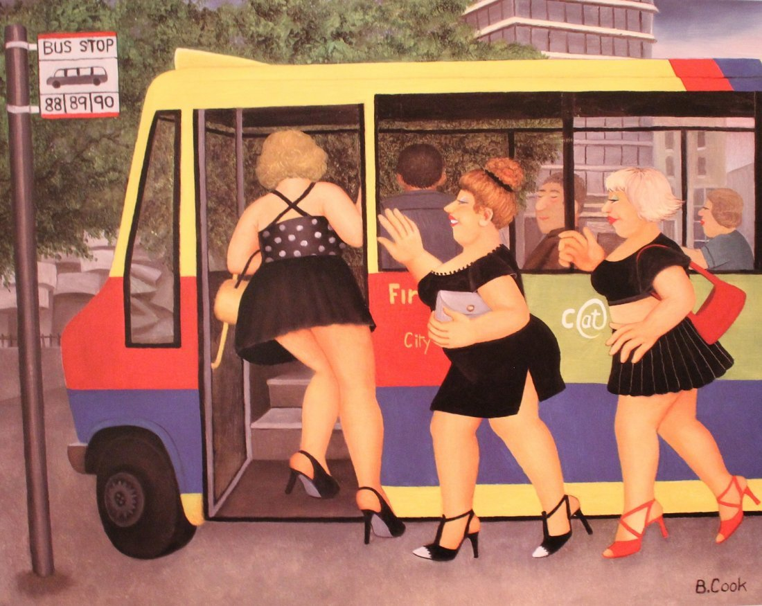 """Beryl COOK, """"Bus Stop"""", signed colour lithograph"""