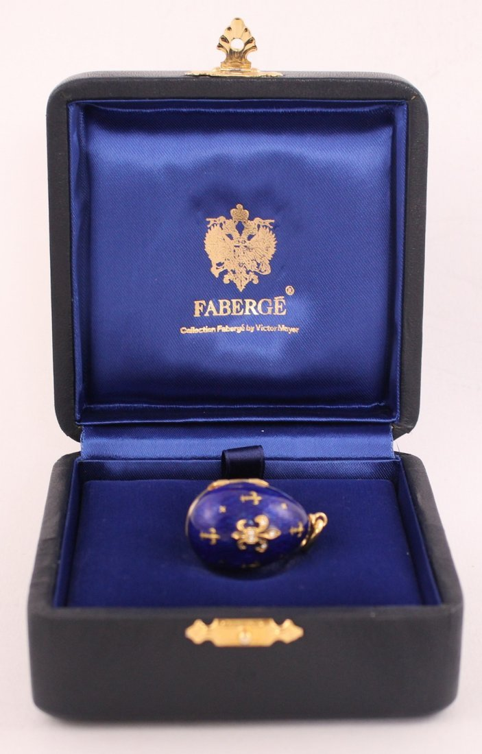 Fabergé gold and diamond blue enamel egg pendant