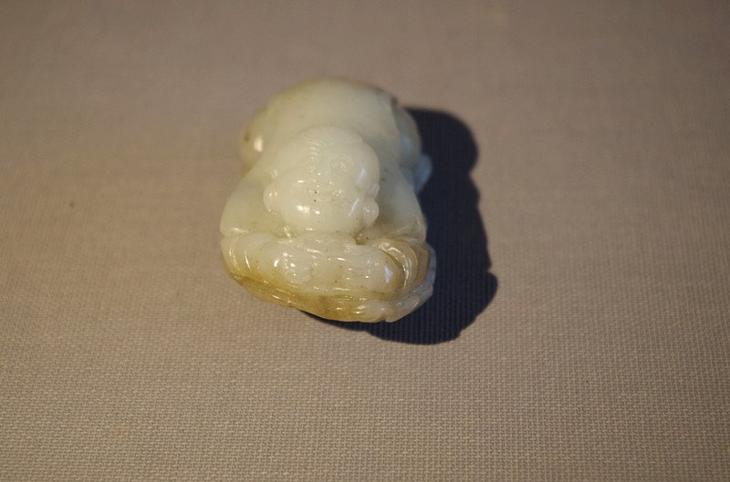 Chinese antique white jade Carved boy