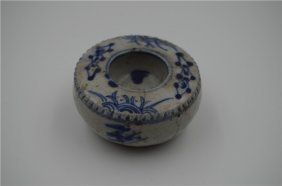 Chinese Antique Blue And White Pen Wash