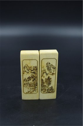 A Pair Chinese Shoushan Stone Seal