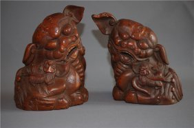 A Pair Bamboo Carved Lion