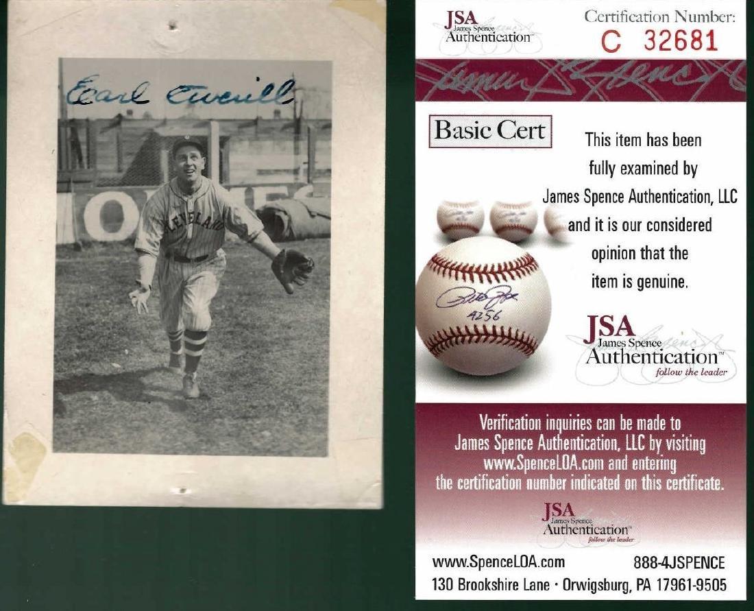 Earl Averill Signed Photograph JSA C32681