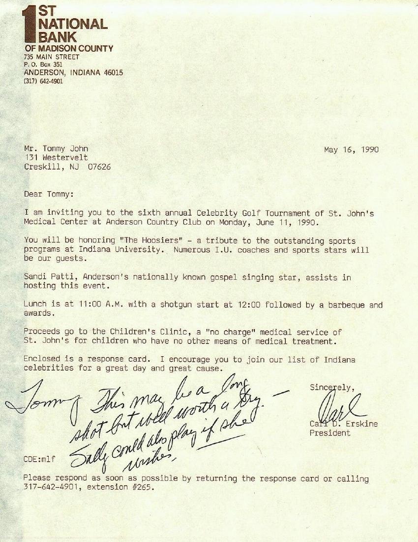 Carl Erskine Signed Letter To Tommy John HOF JSA K63813