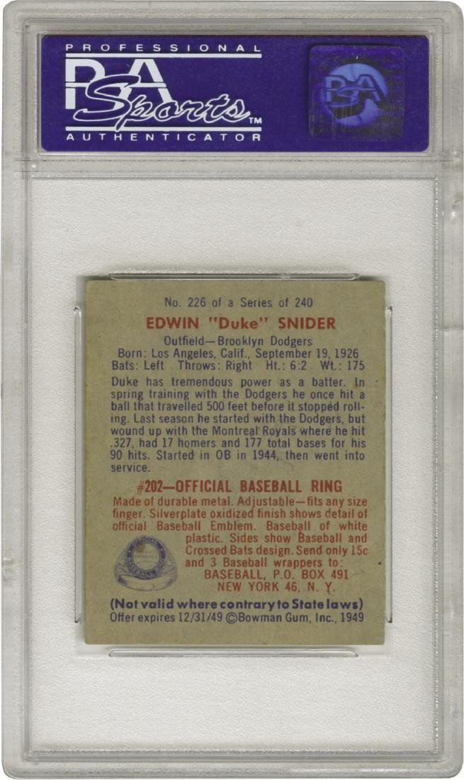 PSA 7 1949 Bowman #226 Duke Snider NM - 2