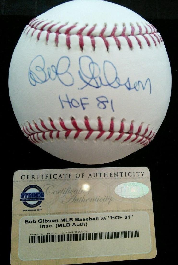BOB GIBSON SINGLE SIGNED OFFICIAL MLB BASEBALL W HOF 81