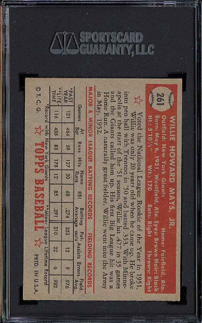 SGC 6 1952 Topps #261 Willie Mays - 2