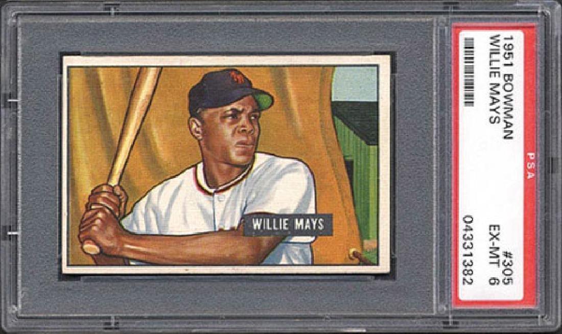 PSA 6 1951 Bowman #305 Willie Mays Card