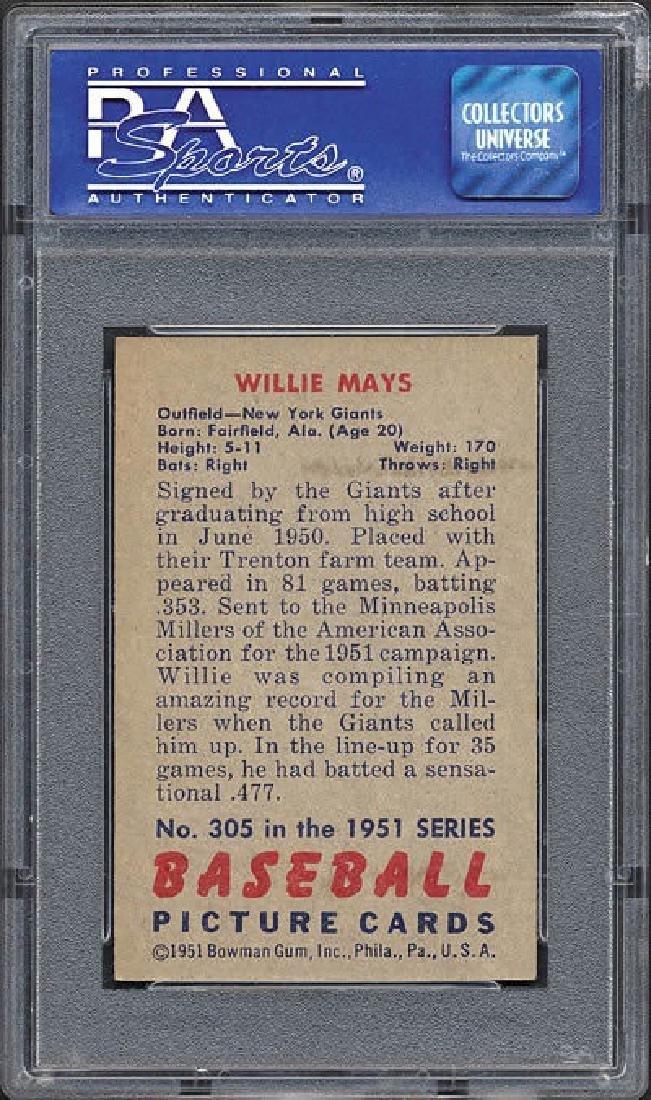 PSA 6 1951 Bowman #305 Willie Mays Card - 2