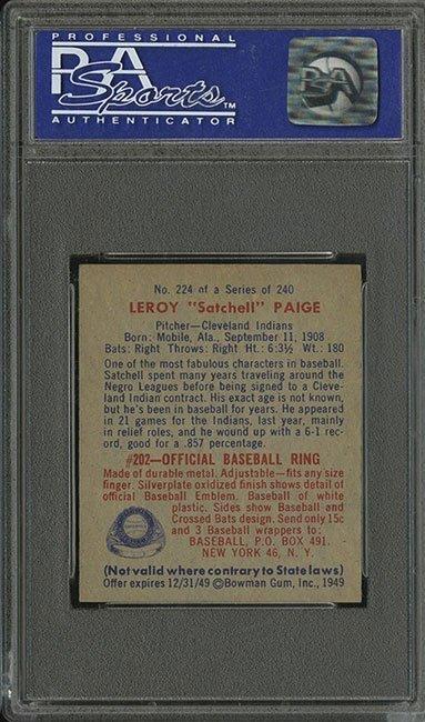 PSA 7 1949 Bowman #224 Satchel Paige - 2