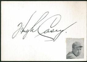 Hugh Casey Signed Index Card JSA Full LOA