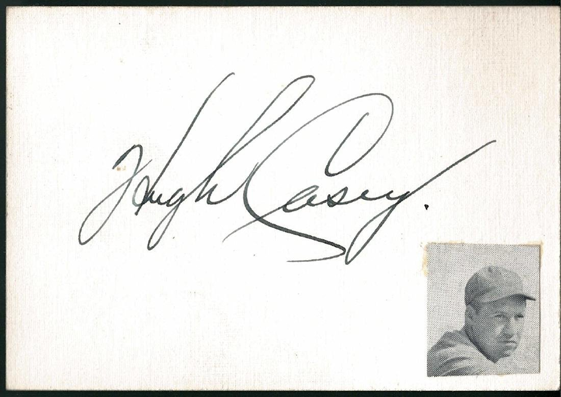 Hugh Casey Signed Index Card JSA Full LOA