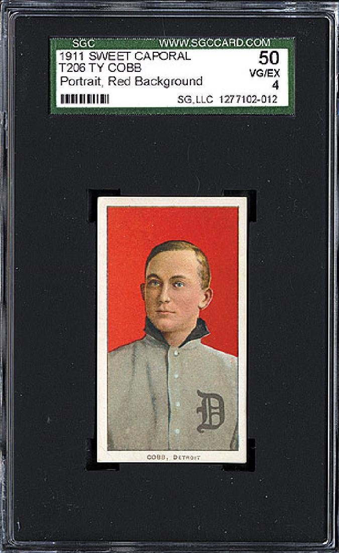 SGC 4 1909-1911 T206 Ty Cobb - Red Background