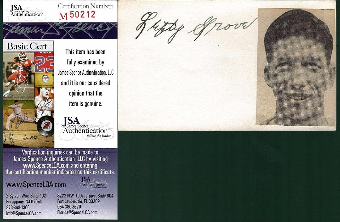 Lefty Grove Signed Index Card with a Newspaper Photo