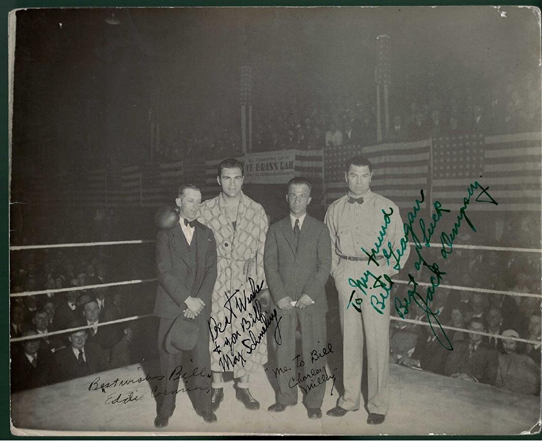 Max Schmeling and Jack Dempsey Signed Photograph 8x10""