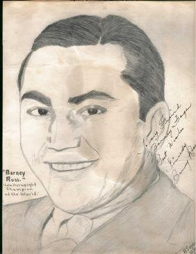 BARNEY ROSS AUTOGRAPH SIGNED + DATED 1936 8x10 PENCIL