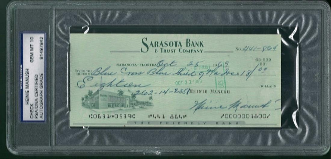 Heinie Manush Signed Punched Bank Check Certified by