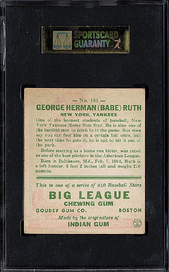 SGC 5 1933 R319 Goudey #181 Babe Ruth - 2
