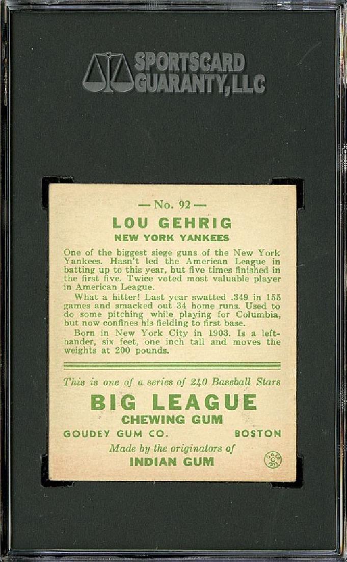 SGC 5 1933 R319 Goudey #92 Lou Gehrig - 2