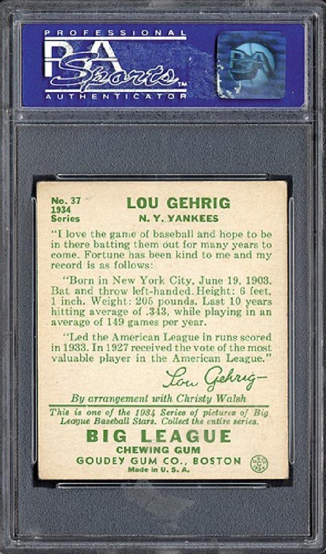 PSA 6 1934 R320 Goudey #61 Lou Gehrig - 2