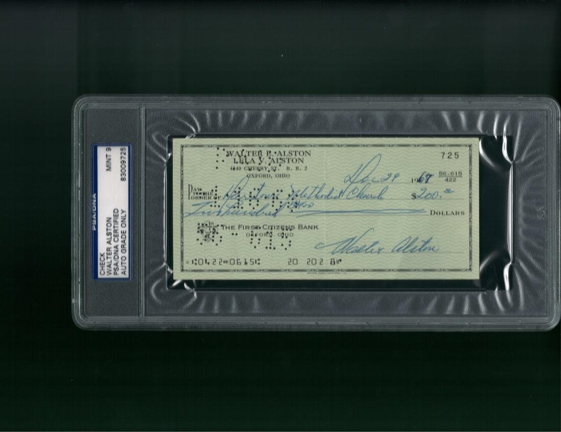 Walter Alston Signed Check PSA/DNA Mint 9