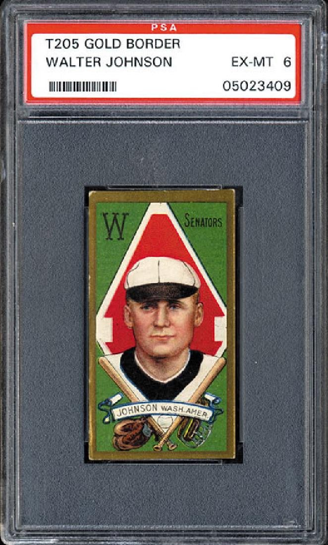 PSA 6 1911 T205 Gold Border Walter Johnson